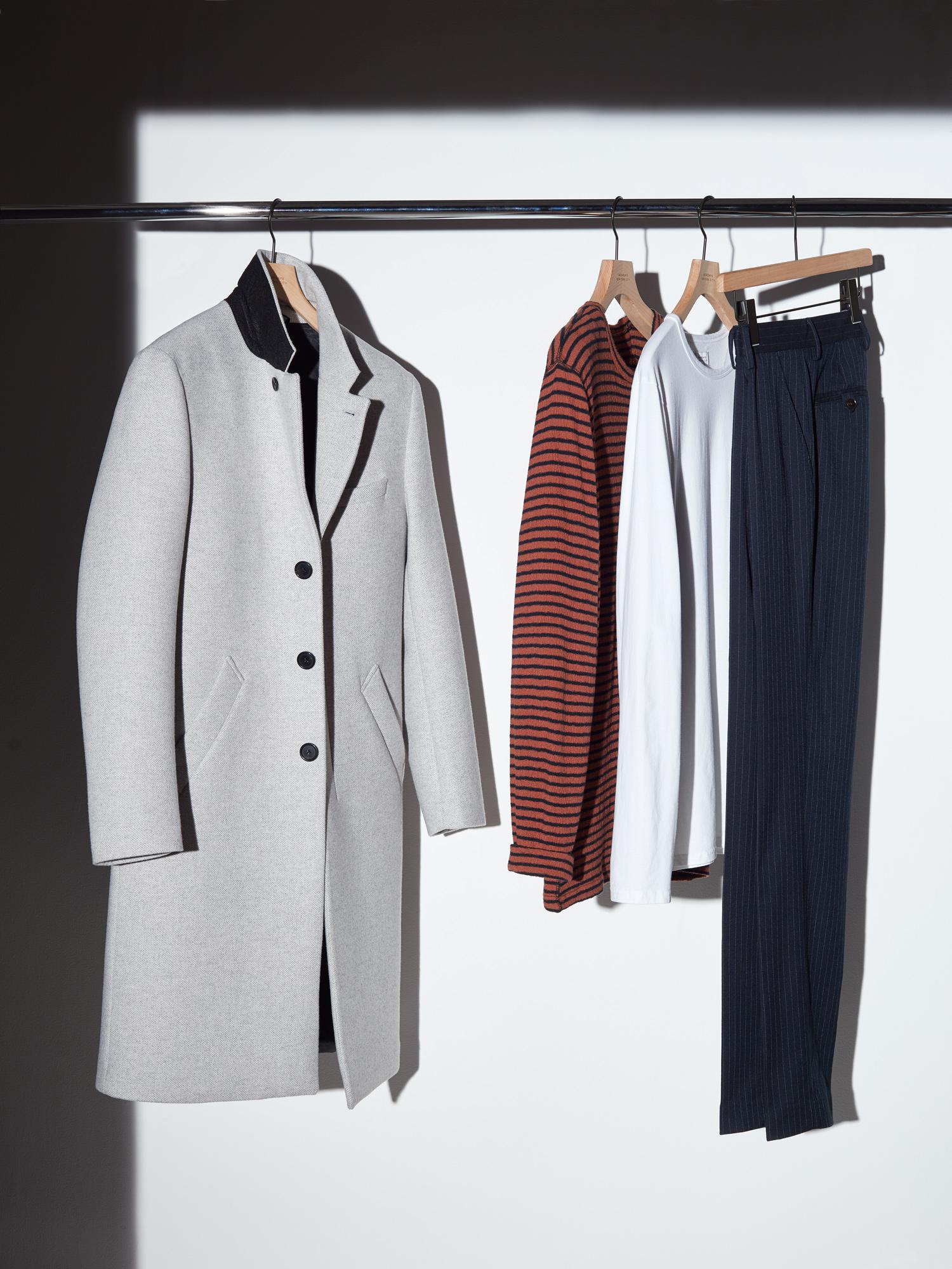 The Morgan Wool Coat, Alek Stripe Long Sleeve Shirt, James Pima Long Sleeve Shirt, and Panos Stripe Trousers.