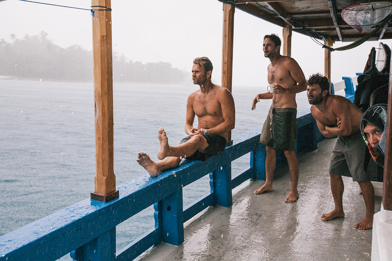 Freak Set, Mentawai Islands, Indonesia. Chris Malloy, Dan Malloy, Fletcher Chouinard and Wayne Lynch