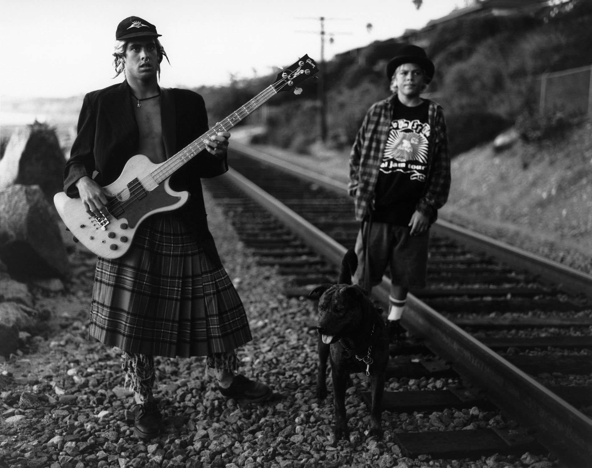 Christian and Nathan with their dog down on the tracks below the Fletcher compound. San Clemente, California. 1992.