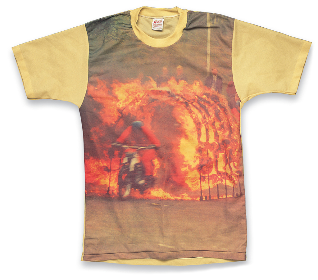 """588: Picture-Print T-Shirt """"Explosion Stunt Rider"""" a. 1970s, b. Custom Casual, c. Terry Windham"""