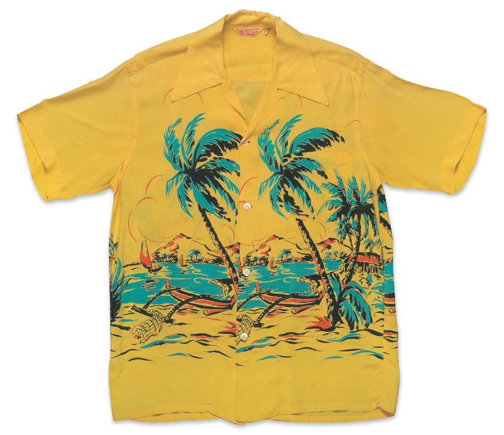 """""""Hawaiian Village"""", Rayon Shirt a. Early 1950s, b. """"Made in Hawaii,"""" c. Sylvan Johnson (Fritzi Ritz)"""