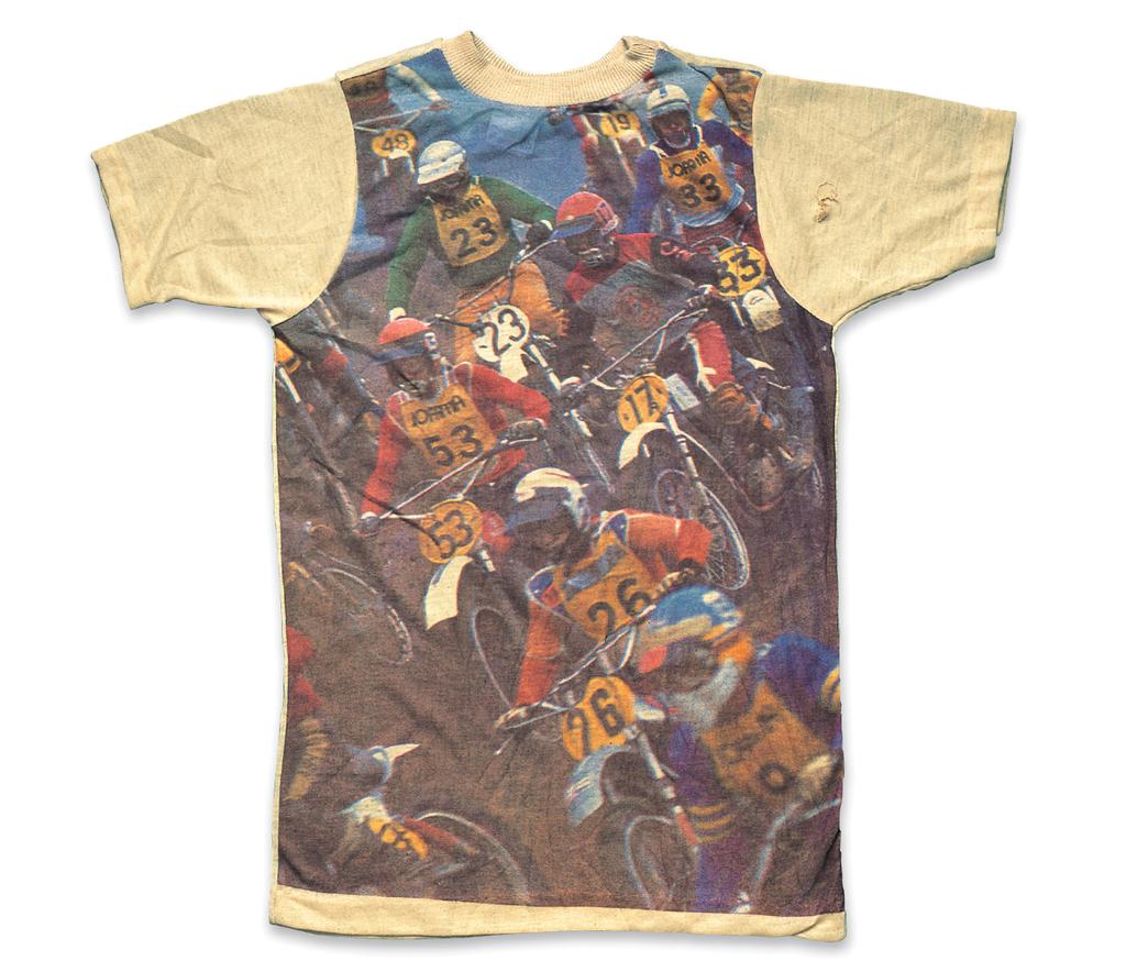 "Picture-Print T-Shirt ""Motocross""a. 1970s, b. No Labelc. Benjamin Baskin (Pale Face)"