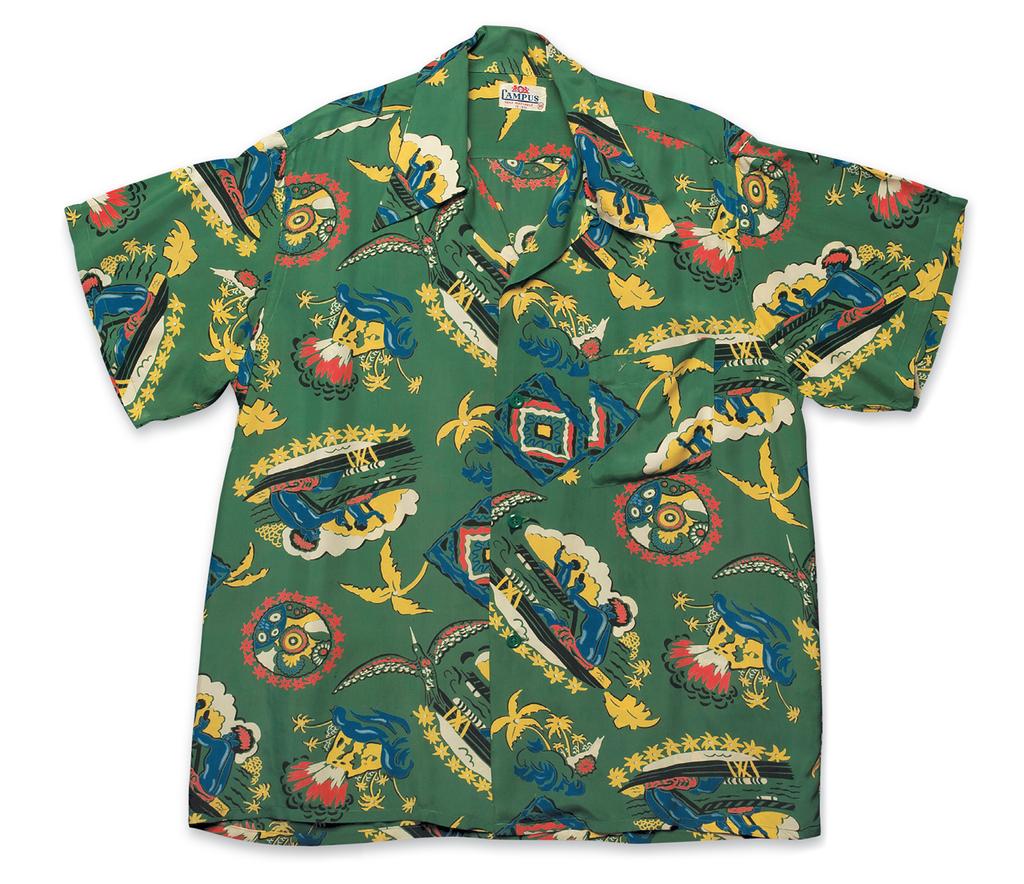 """Outriggers"", Rayon Shirt a. Early 1950s, b. Campus, c. David Bailey (Bailey's Antiques & Aloha Shirts Inc.)"