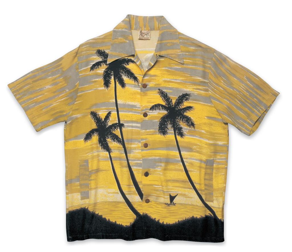 """Palm Trees"", Rayon Shirt a. Late 1950s, b. Catalina Sportswear (Los Angeles, CA), c. David Bailey (Bailey's Antiques &"