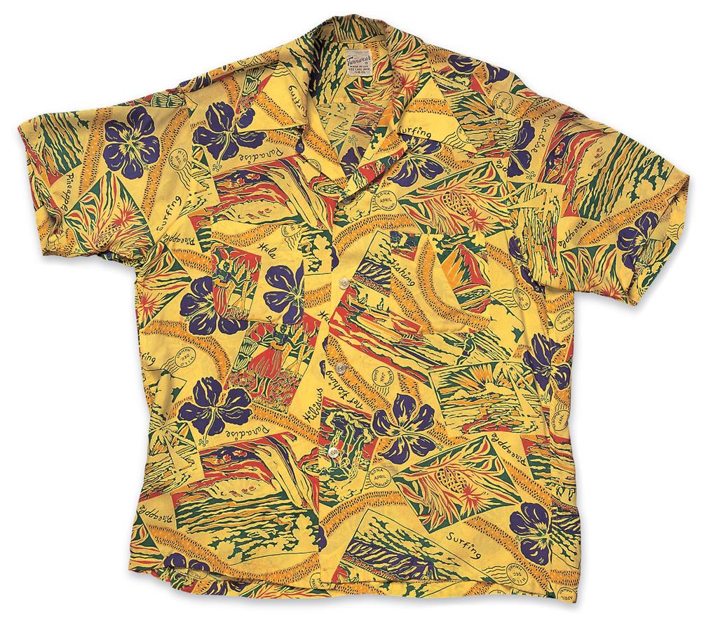 """Postcards"", Rayon Shirt a. Early 1950s, b. Twinwear, c. Cary Weiss"