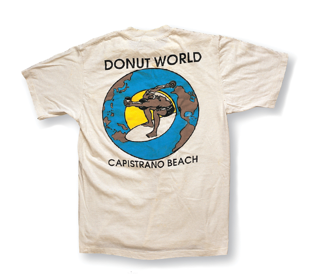 """Quasimoto by Donuts World"" a. Donuts World (Capo Beach, CA) in the '90s b. Hanes, c. Mickey Munoz"