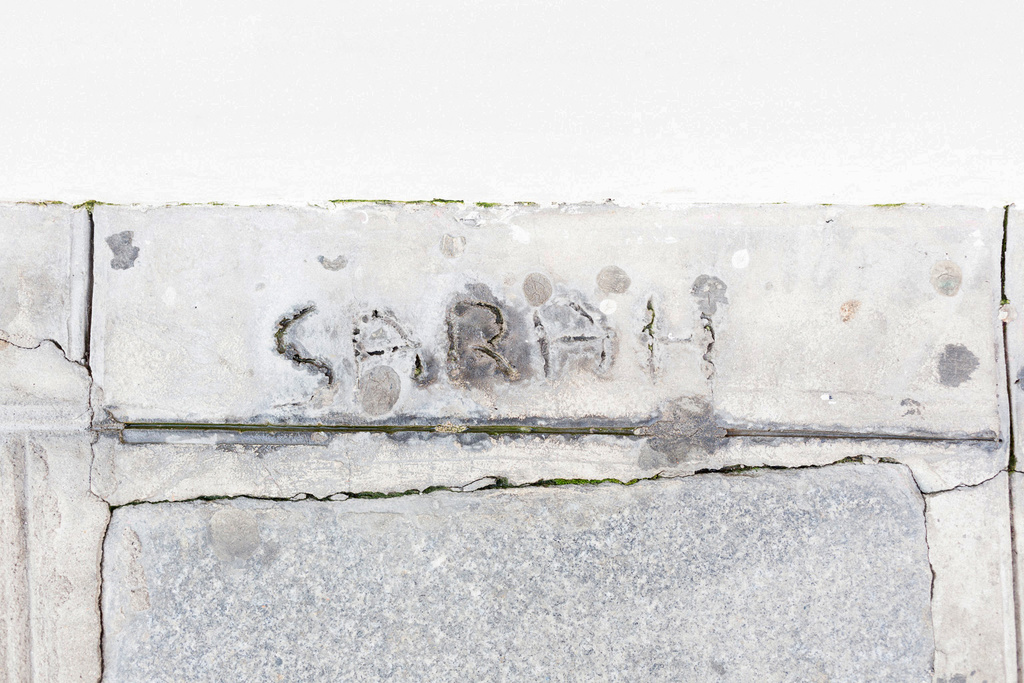 Sarah's handwriting in cement outside colette. Photo: Linus Ricard