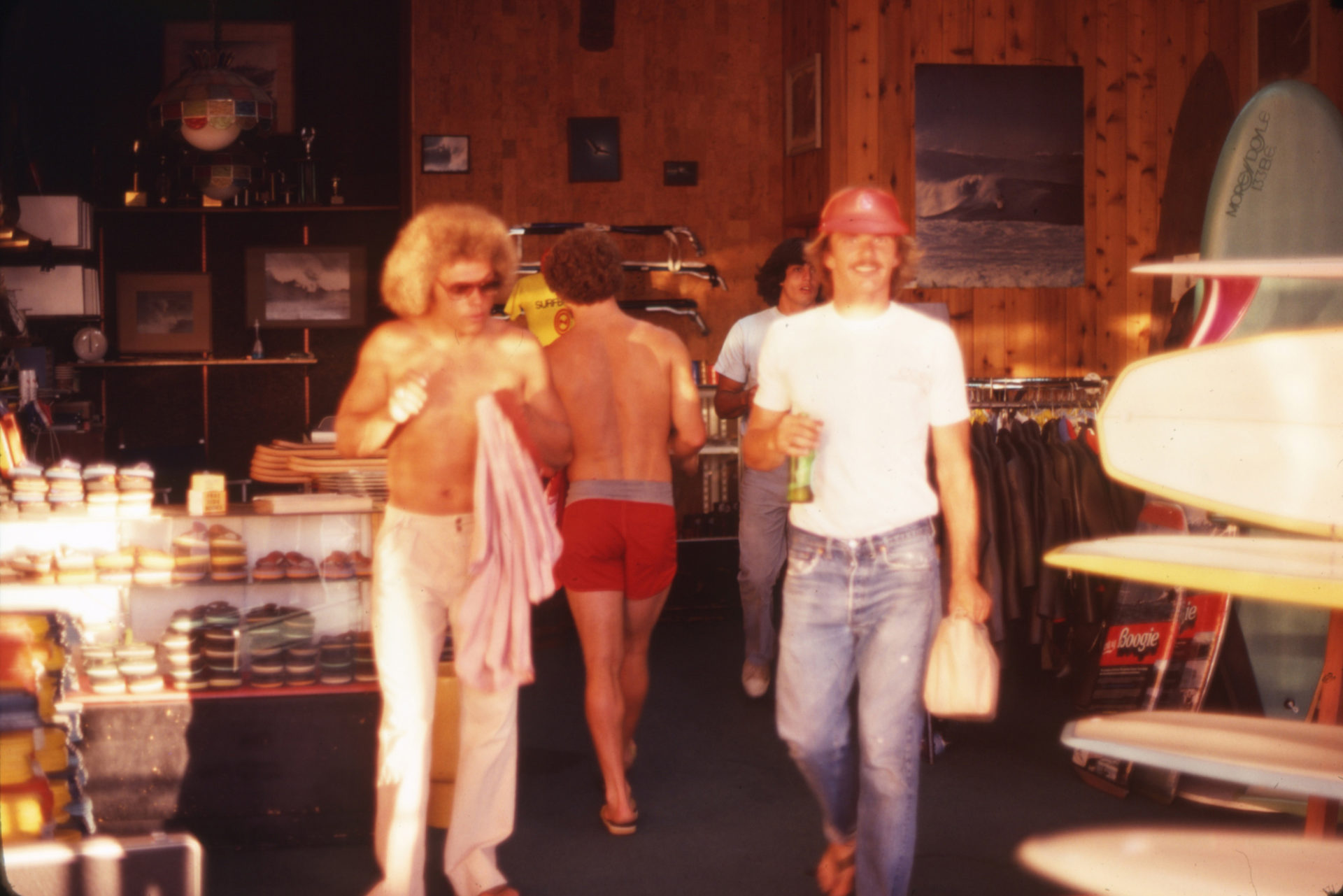 Inside Con's shop with Wayne Saunders (left), R.J. (middle), and shaper Mike Olivares